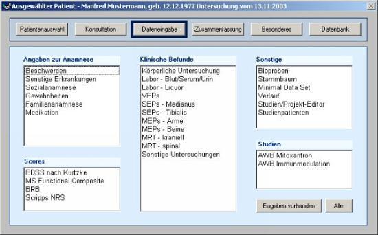 MSDS Klinik Dateneingabe
